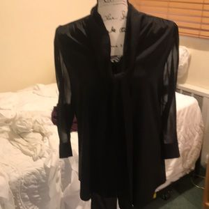 Alice + Olivia black silk sheer sleeve blouse S